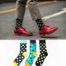 Fashion Socks Men Cotton Crew Polka Dot Print Skate Dress Brand Happy Harajuku Novelty Calcetine Sox
