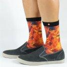 Men\'s In Flame Print Skate Socks USA Size 8-10 ,Euro Size 41-43 ( 100% Polyester )