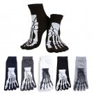 4 Colors Punk Rock Men\'s 3D Print Terror Skeleton Toe Socks Hip Hop Scary Skull Five Finger Odd Sox