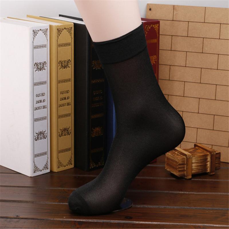 2017 Men Socks 10 Pairs/Lot High Quality Brand Men Business Casual Black Silk Socks Spring Summer Ma