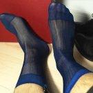 2017 High quality Men Sheer Silk Black Gay socks Transparent Sexy Men stripe Dress suit Formal socks