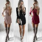 2017 Fashion Womens Clothing Lady Summer Long Sleeve Loose Blouse Casual Solid Color Dress Simple St