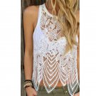 Blusas Sexy Hollow out Summer White Women Lace Crochet Vest Tank Top Casual Sleeveless Blouse  vetem