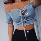 Fashion Female Streetwear Denim Jean Women Shirts Top Ladies Slim Blouse Shirt Girls Short Outwear
