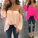 Fashion Women Clothing Tops Summer Loose Casual Chiffon Off Shoulder Shirt Ladies Tops Blouse Summer