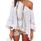 Summer Chiffon Tee Shirt Women Off Shoulder Blouse Casual Beach Crop Tank Tops Crochet Boho white La