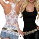 Sexy Women Fashion Lace Vest Top Sleeveless Shirt Floral Blouse Casual Holl Tank Top T-Shirt