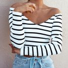 Women Sexy V neck Off Shoulder Crop Strapless Long Sleeve Striped Autumn Long sleeve Shirt Chemise F