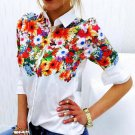 Fashion Women Long Sleeve Butterfly/Flower Print Blouse Top Loose Slim Fit Shirt Blouses Tops New