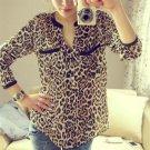Summer Blouse 2017 Female Blouse Shirt Fashion Leopard Print V-Neck Shirt Long-sleeved  Chiffon Wome
