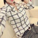 Women\'s Long Sleeve White Shirts Plaids Pattern Lapel Casual Blouse Tops