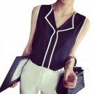 New Fashion Women Summer V-neck Sleeveless Chiffon Patchwork Vest Blouse Tops Black