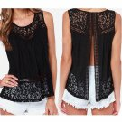Summer Style Woman Blusas 2017 Women Chiffon Blouse Sleeveless O-neck Lace Shirts Hollow out Solid P