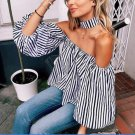 THINKTHEDO Women Summer Striated Straight Collar Puff Sleeve Blouse  Off Shoulder Sexy Top