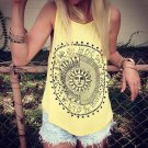 Women\'s Sunflower Printing Sleeveless Vest Fashion Loose Tank Top Casual Blouse New Arrival
