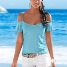 Comfortable Women Off Shoulder Chiffon Short Sleeve Tops Shirt S-XL Cool