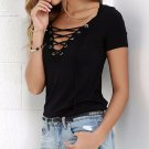 Lace Up Women Blouses Plus Size Solid Hollow Out Shirt Short Sleeves Sexy Banage Top Summer Loose Bl