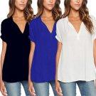 Autumn Summer Women Chiffon Blouses Shirts Loose Casual Blouse Female V-neck Short Sleeve Tops Plus