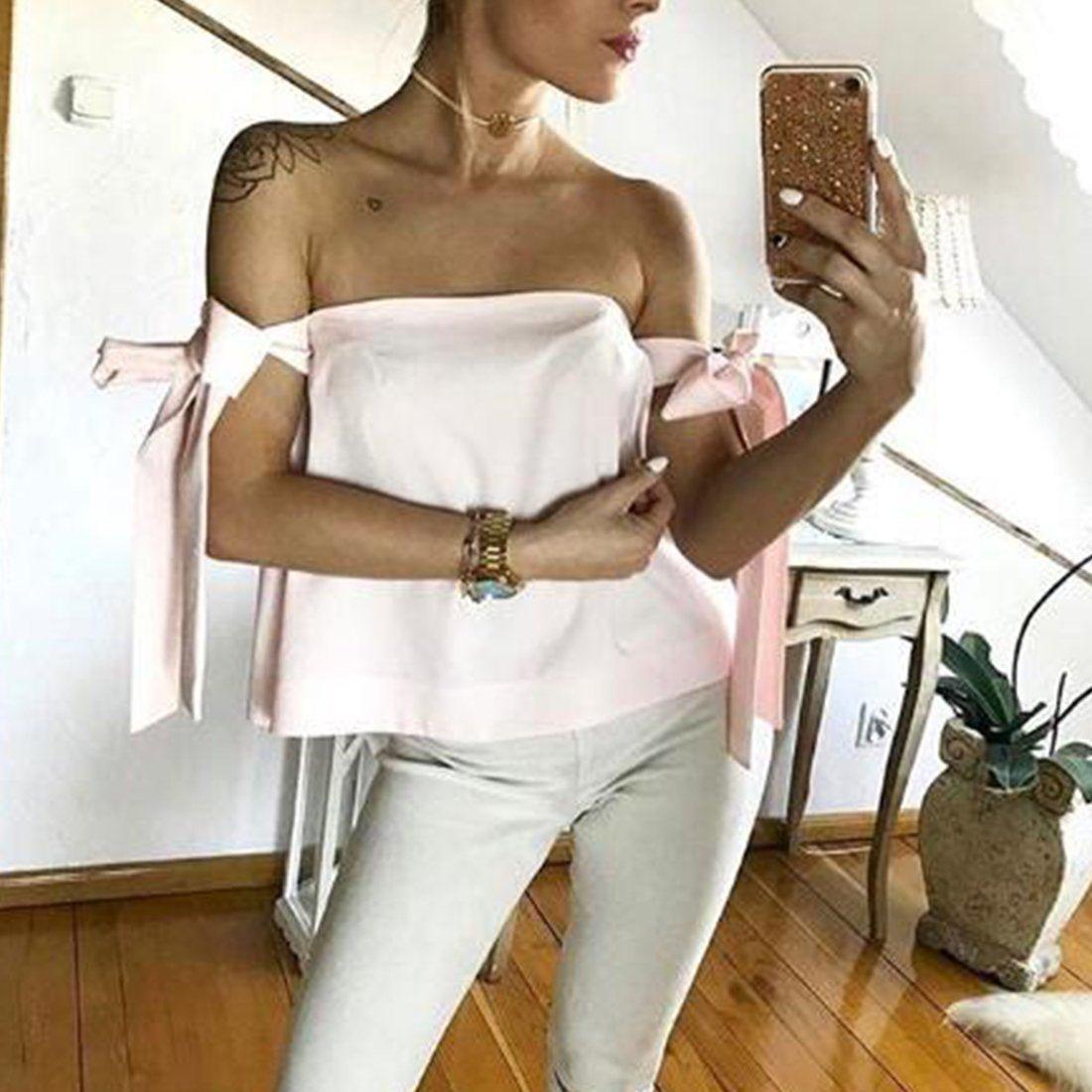 New Women Summer Sexy Fashion Shoulder off Slash Neck Backless Short Sleeves Bownot Bandage Blouse