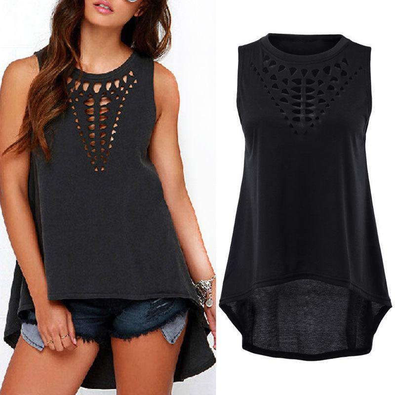 Hot Sexy New 2017 Women Retro Black Hollow Out Tank Tops Vest Sleeveless Casual Loose Shirt Blouse F