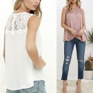 Fashion Summer 1PC Sexy Women Tops Lace Stitching Sleeveless Blouse Casual Hollow Tank Tops Solid Fe