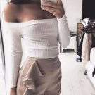 Sexy Women Off Shoulder Crop Tops Knitted Strapless Tanks Tops Black Gray White Summer Spring Blouse