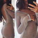 2017 White Sexy Backless Transparent Bling Long Sleeve Tops Party Club Pullover Tops Women New Arriv