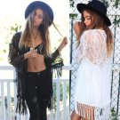 Women Sexy See Through Lace Cardigan Shirt Casual Long Sleeve Blouse Tassels Top