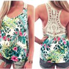 Summer Lace Patchwork Vest Sleeveless blusas Camisa feminina Casual t shirt women tops Ladies Floral