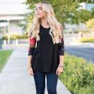 High Quality Elegant Winter Dress  Office Dress Women Plus Size Tops Long Sleeve O-Neck Casual Flora