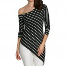 female blouse black Striped  oblique sleeve shirt sexy summer 2017 Irregular  women tops fashion gir