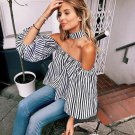 Fashion Sexy Women Off The Shoulder Blouses  Casual Loose Long Sleeve Shirts Striped Tops S