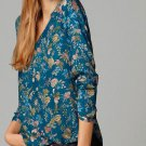 Hot 2016 New Blouses Women Fashion Print Auntumn V-Neck Floral Polyester Lady Tops Shirt