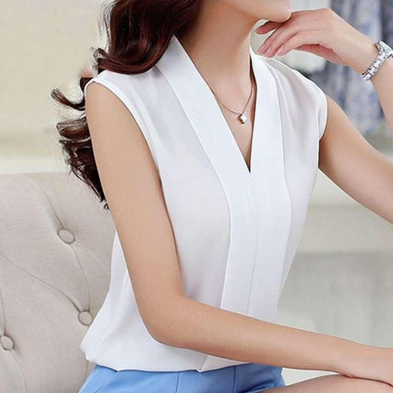 Summer Women Chiffon Blouses Sleeveless V neck Casual Loose Office Lady Top Female blusas mujer de m