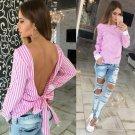 Women Sexy Bowknot Backless Striped Blouse Shirts Long Sleeve O neck Bandage