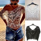 Women Sheer Sleeve Lace Crochet Hollow Loose Tee Shirt Casual Top Fashion Blouse Beach Casual Short