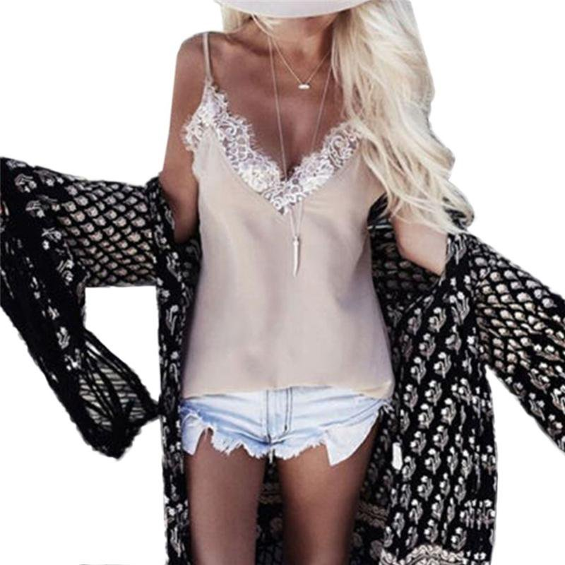 Women Ladies Vest Sleeveless Lace Tank Tops T Shirt Summer Casual Loose Backless Femme Blouse Camis