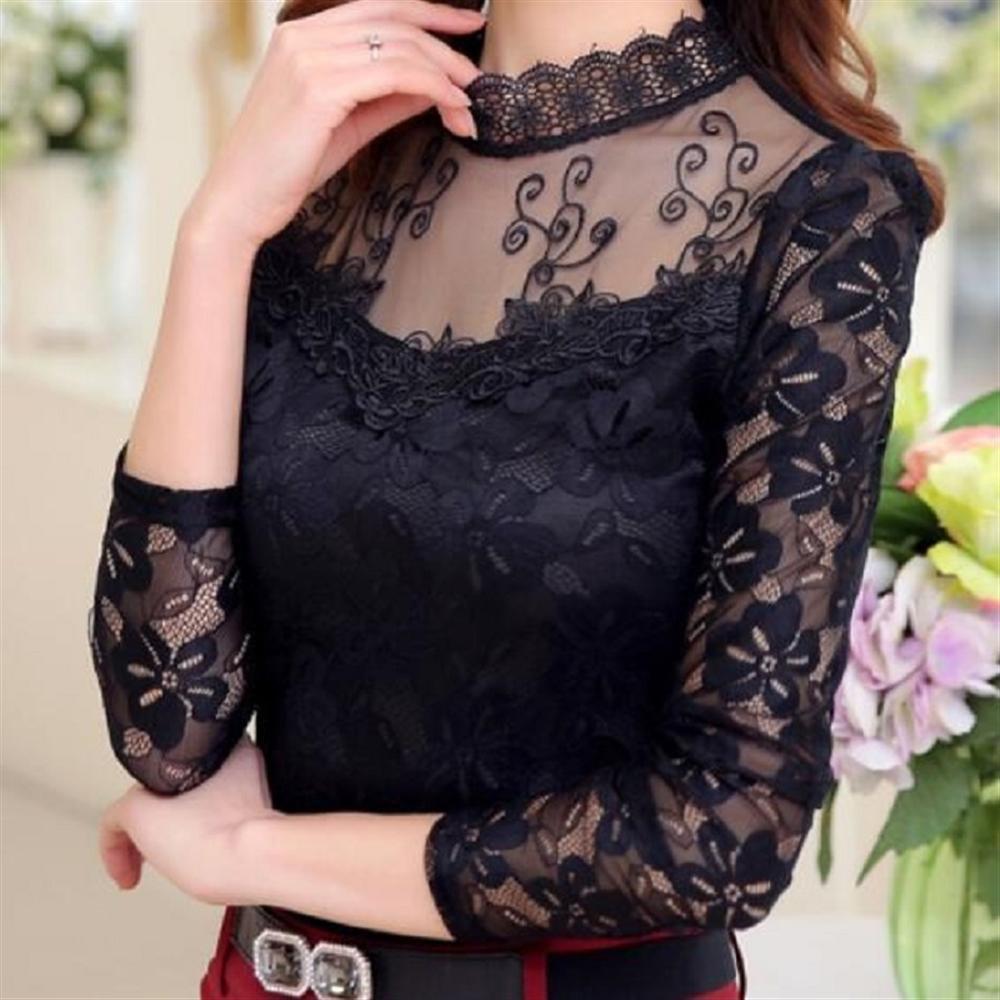 Plus Size Autumn Winter Women Sexy Lace Chiffon Blouses Shirts Ladies Long Sleeve White Black Blusas