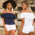 Fashion Women Off Shoulder Tops Ladies Summer Loose Casual Shirts Blouse Plus Size 2XL