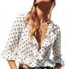 2017 Polka Dot Print Half Sleeve Short Blouse Summer Women Deep V Neck Blouses Shirts Ruffles Mini B