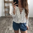 2018 new Fashion Women Loose v-neck lace up blouses Top Long Sleeve ruffles dot Blouse Ladies Casual