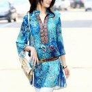 Hot plus size chiffon women blouses bohemian indian tops summer embroidery long shirt blouse ladies