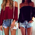 Fashion Casual Women Ladies Off the Shoulder Crop Tops Tank Casual Loose Floral  Blouse Cotton Red B