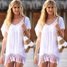 Women Summer Tassel Stitching Blouse Loose Sun Protection Clothing Top Cover Up