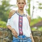 2017 Women White Chiffon Blouses Ladies Printed Off Shoulder Bohemian Shirts Tops Camisas Female