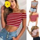 Women Ladies Off Shoulder Short Sleeve Striped Blouse Tops Clothes T Shirt