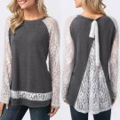 Womens Spring O Neck Behind The Lace Split Long Sleeve Blouse Tops T Shirt