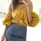 2017 Summer Blusas Women Sexy Crop Tops Fashion Off Shoulder Lantern Sleeve Blouses Strapless Casual