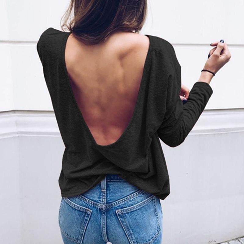 Sexy Backless Blouses Shirts Spring Autumn Women O Neck Long Sleeve Casual Solid Tops Fashion Elegan