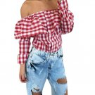 Sexy Off Shoulder Autumn Blouse Women Plaid Top Long Sleeve Blouse Ladies Casual Tops White Red Pink